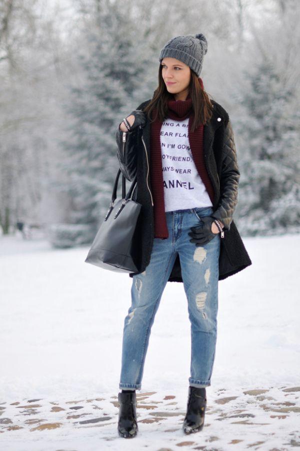 джинсы-бойфренды фото с чем носить зимой фото