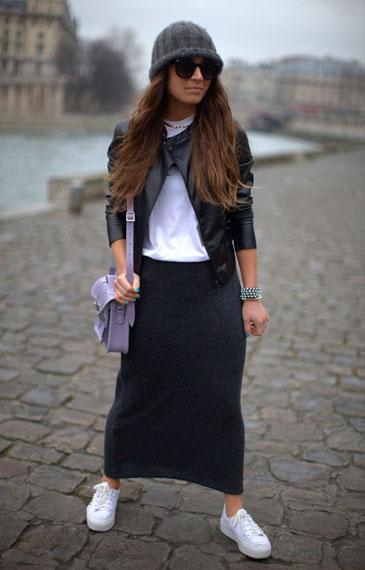 С чем носить длинную облегающую юбку