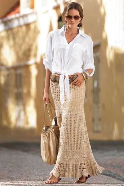 Купить вязаную длинную юбку