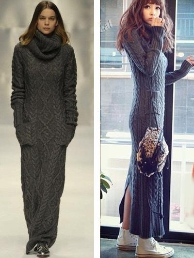 Фото вязаное платье длинное